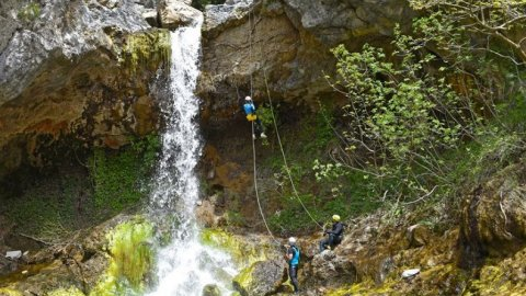 Canyoning at Drymona Waterfall, Evia
